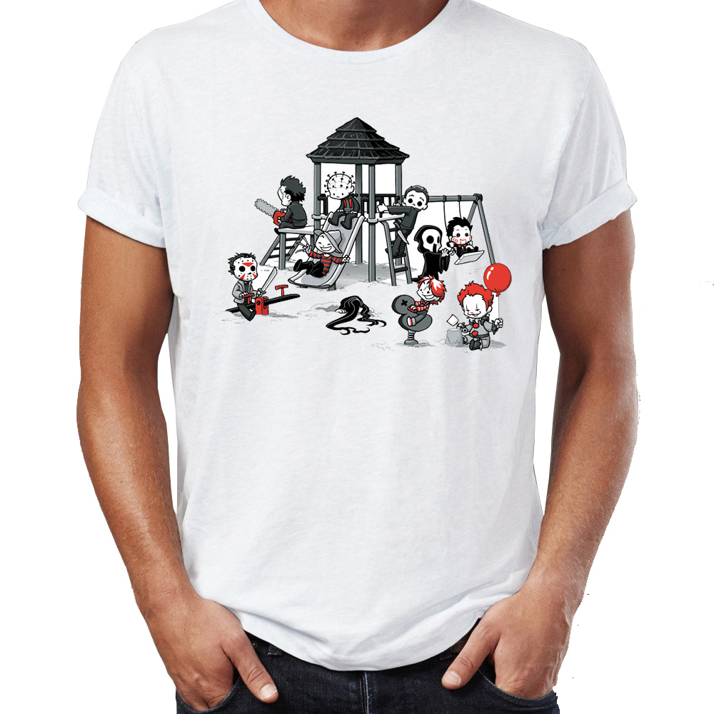 Men's T Shirt Maniac Park Horror Movie Theme Park Jason Clown Saw Halloween Funny Artsy Tee