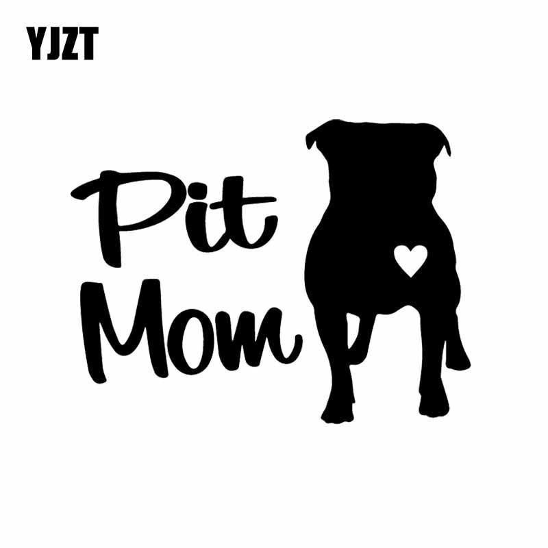 YJZT 14.6X11.1CM забавные животные виниловые наклейки в виде Фотообоев c переводными картинками автомобиля Стикеры яма мама питбуль защитный чехо...
