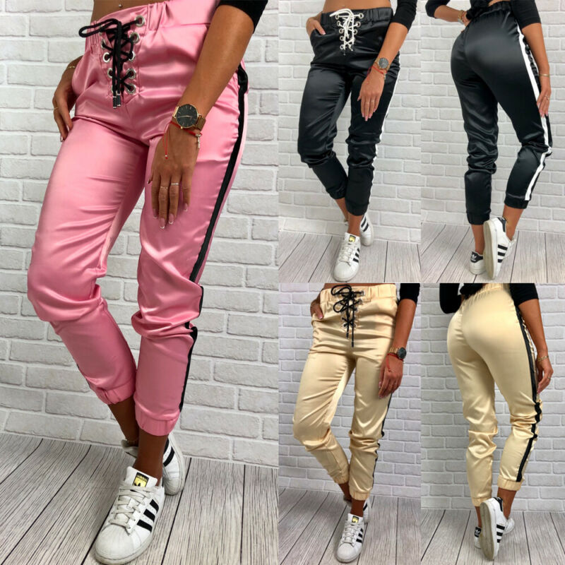 Women Sports Pants Elastic High Waist Breathable Striped Running Workout Tennis Pants Gym Wear Training Fitness Pants Tracksuit