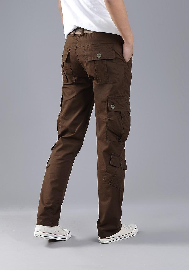 KSTUN Cargo Pants Men Combat Army Military Pants 100% Cotton 4 Colors Multi-Pockets Flexible Man Casual Trousers Overalls Plus Size 38 18
