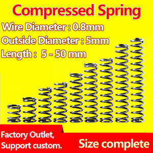 Wire Diameter 0.8mm, Outer Diameter 5mm Compressed Spring Release Spring Mechanical Spring Return Spring Pressure Spring
