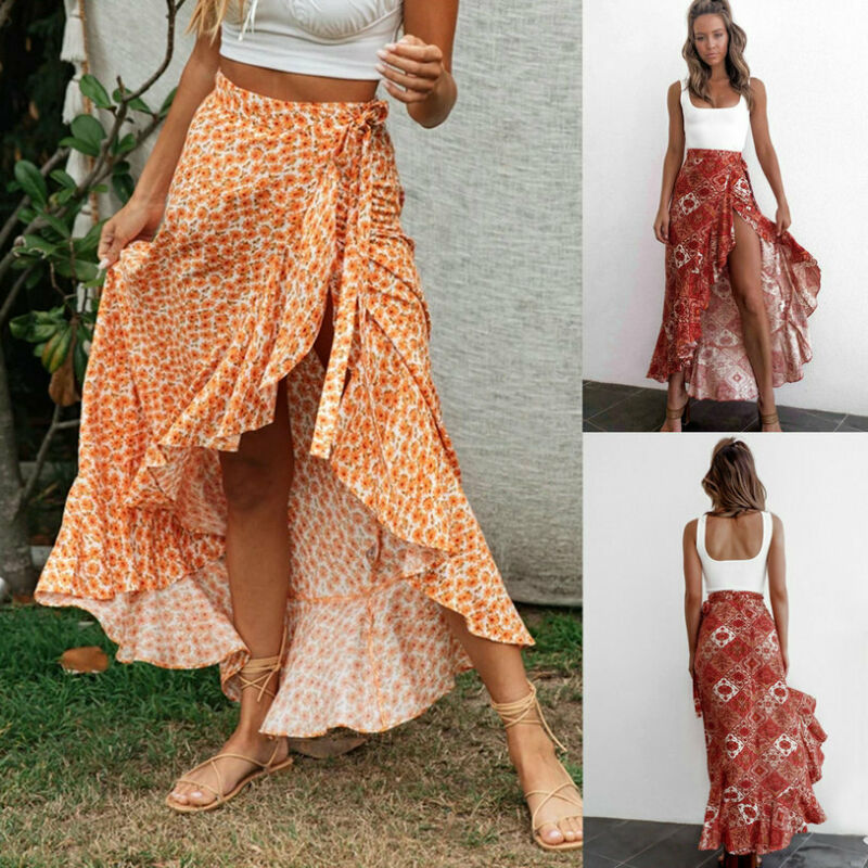 Women's Sexy Floral High Waist Ruffled Long Skirt Split Boho Beach Wrap Skirts