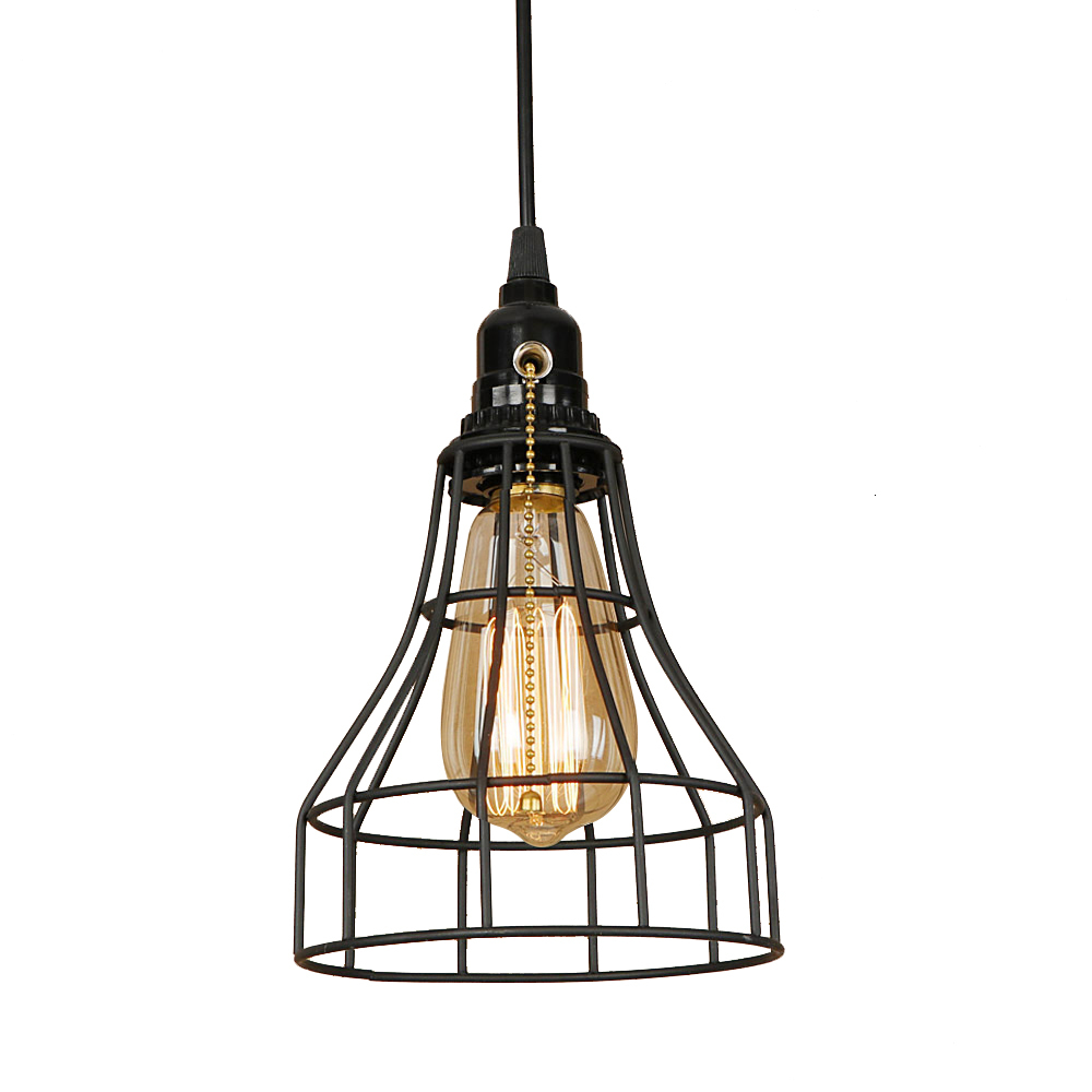 Industrial art deco iron black pendant light LED E27 loft vintage hanging lamp with switch for living room restaurant bedroom