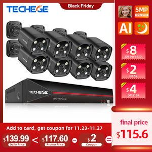 Image 1 - Techege 8CH 5MP POE AI CCTV Security Camera System Kit Face Detection Two Way Audio Outdoor Video Surveillance Camera Kits P2P