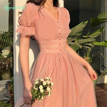 Damska 2021 letnia koronkowa tiulowa Sukienka Cottagecore estetyczny francuski styl Kawaii Elegantes moda damska Sukienka Sundress