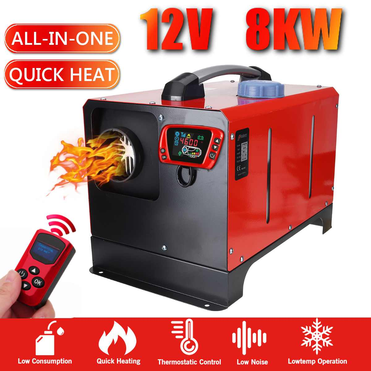 1-8KW 12V All In One Unit  Car Heating Tool Diesel Air Heater Single Hole LCD Monitor Parking Warmer For Car Truck Bus Boat RV