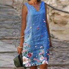 Vest Plus-Size Summer Dress Floral-Print Sexy Elegant Cotton Beach Linen Retro Mujer