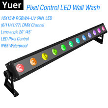 Control de píxeles IP65 12X15W LED RGBWA-UV 6IN1 LED Luz de lavado de pared 6/11/41/77 canales DMX512 LED barra de lavado de escenario luz música Dj(China)