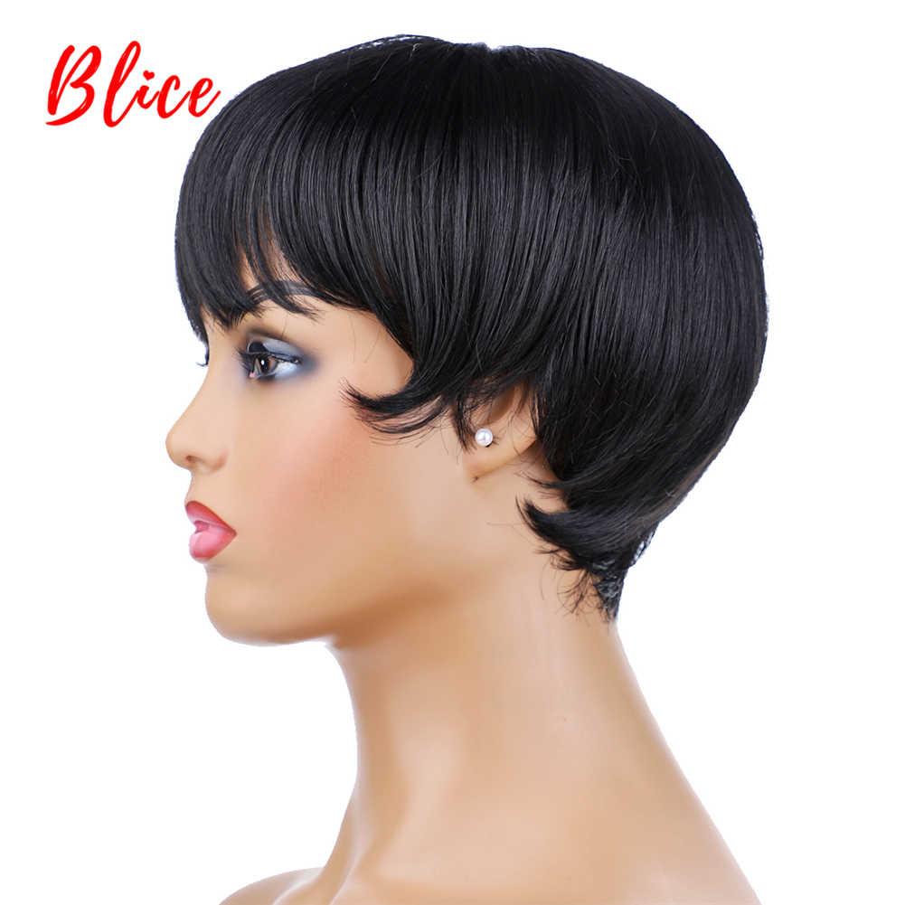 Blice dla kobiet krótka peruka syntetyczna z bezpłatnym boku Bang naturalny czarny 1B # Bob peruka żaroodporne na imprezę cosplay Yaki Straigt peruka