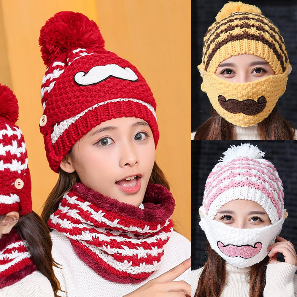 Lovely Beard Women's Outdoor Winter Warm Knitted Beanie Hat Mouth Mask Scarf Set