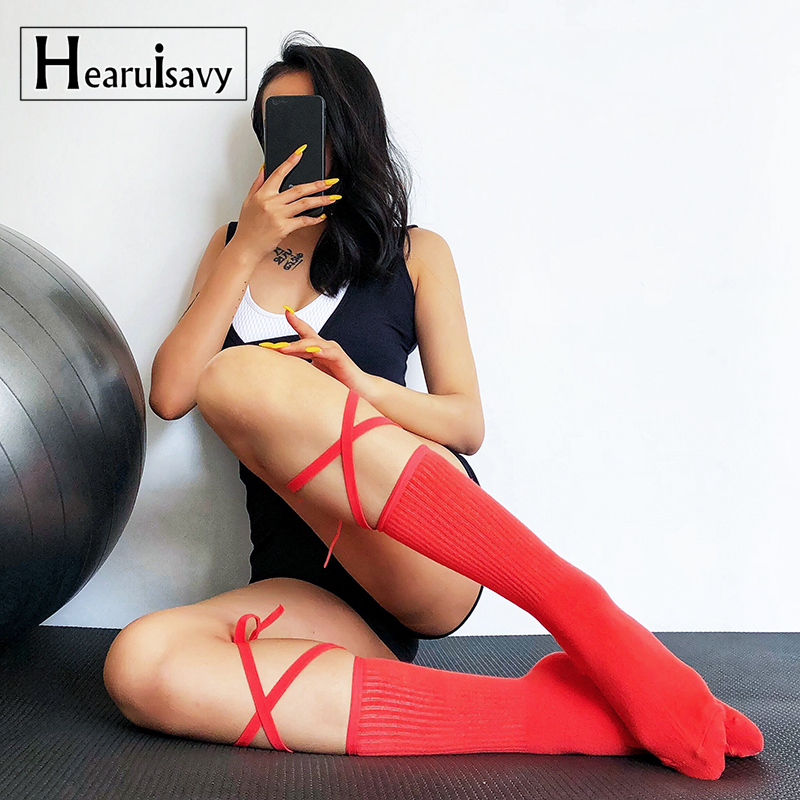 Womens Combed Cotton The Bandage Knee High Yoga Socks Slim Five Toes Non Slip Stockings For Ballet Dance Fitness Sports Socks