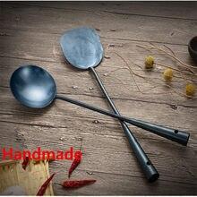 Durável portátil de ferro artesanal não vara turner concha alimentos wok espátula colher cozinha ferramentas utensílios cozinha