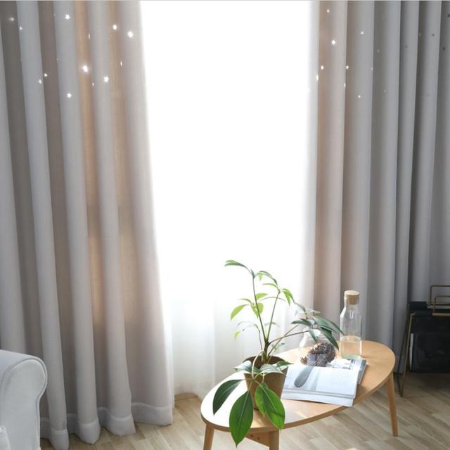 NAPEARL 1 pièce solide rideaux occultants fenêtre panneau de criblage décor à la maison avec Tulle étoiles motif pour salon fille chambre