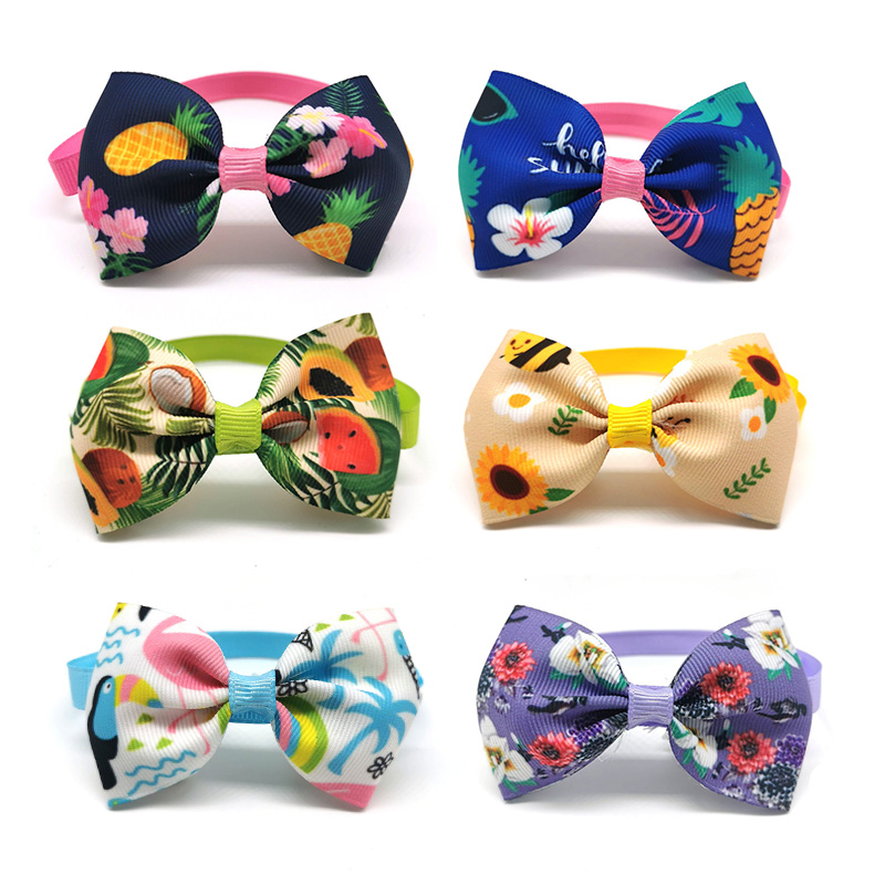 50 100pcs font b Pet b font Dog Grooming Product Cute Fruit Small Doggy Bowties Necktie