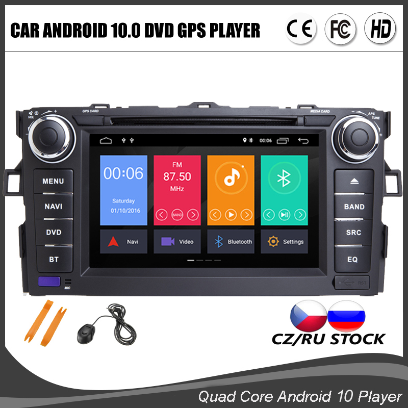7 Inch Android 10.0 Quad Core Car DVD GPS Player For TOYOTA AURIS Multimedia Stereo Auto Radio Navigation Wifi BT MAP DVR DAB+(China)
