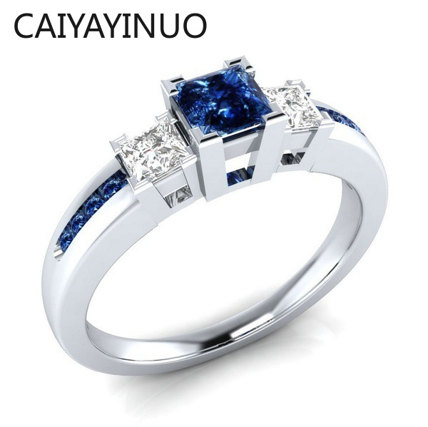 Jellystory Classic Women Ring 925 Silver with Sapphire Emerald Amethyst Gemstone Jewelry Wedding Party Gifts Size 6-10 Wholesale