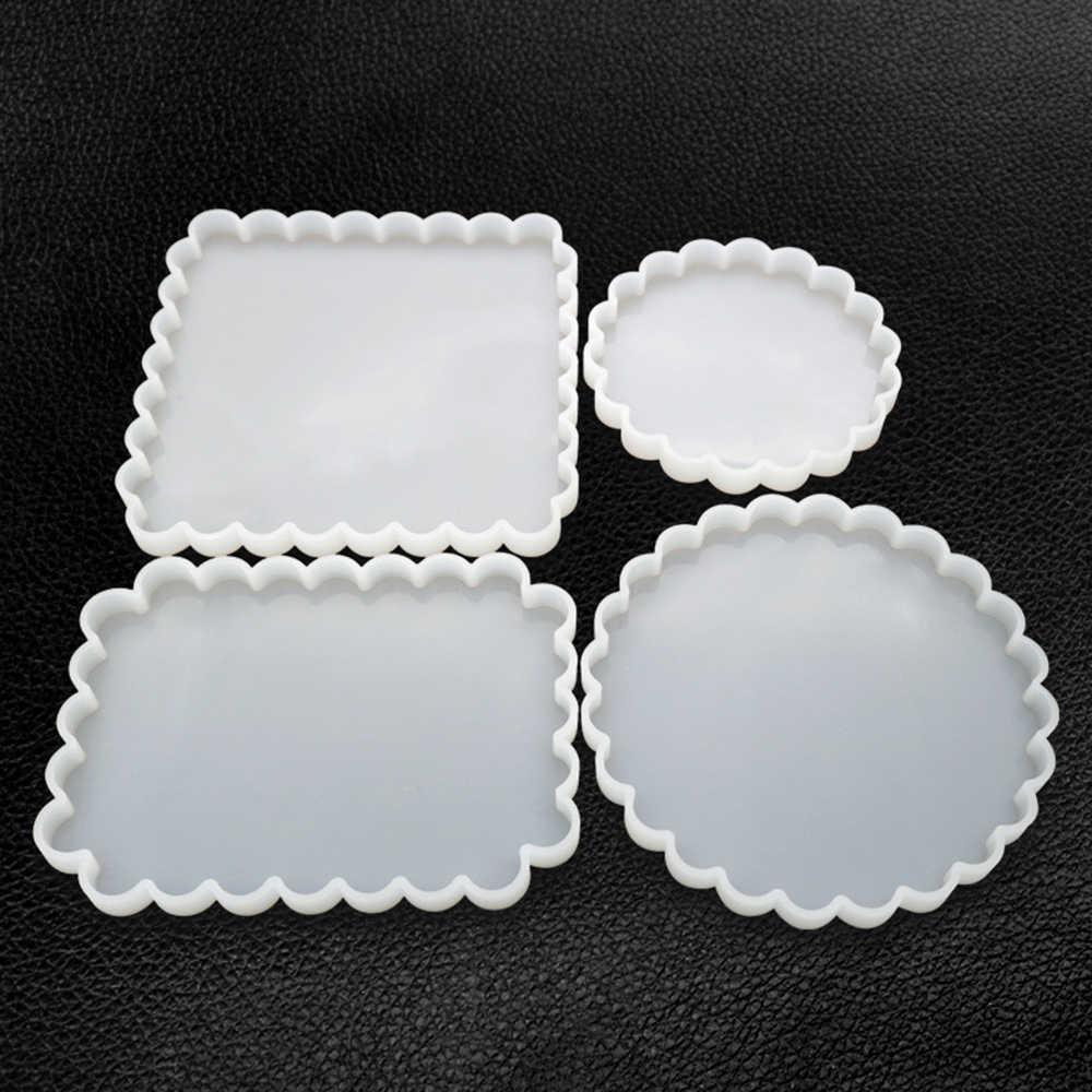 Модные прозрачные силиконовые формы зеркальный кристалл эпоксидный клей плесень diy Ювелирные изделия волна кружева боковая рамка силиконовая форма