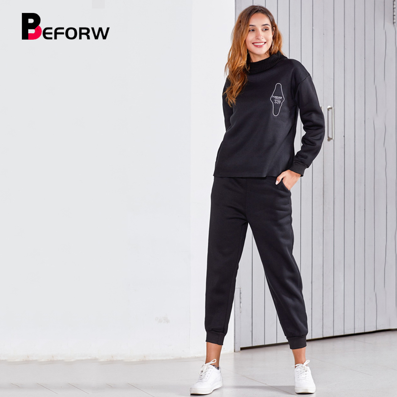 BEFORW 2019 New Women Wear Sweatshirt And Pants Two Piece Set Fall Winter Fashion Casual Black Pullovers 2 piece set