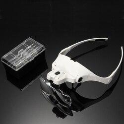1.0X 1.5X 2.0X 2.5X 3.5X Magnifying Glasses Magnifier LED Light Lamp Tool 1Set 5 Lens Adjustable False Eyelash Loupe Headband