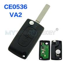 CE0536 207 307 308 car Flip remote key 2 Button 434mhz VA2 blade for Peugeot
