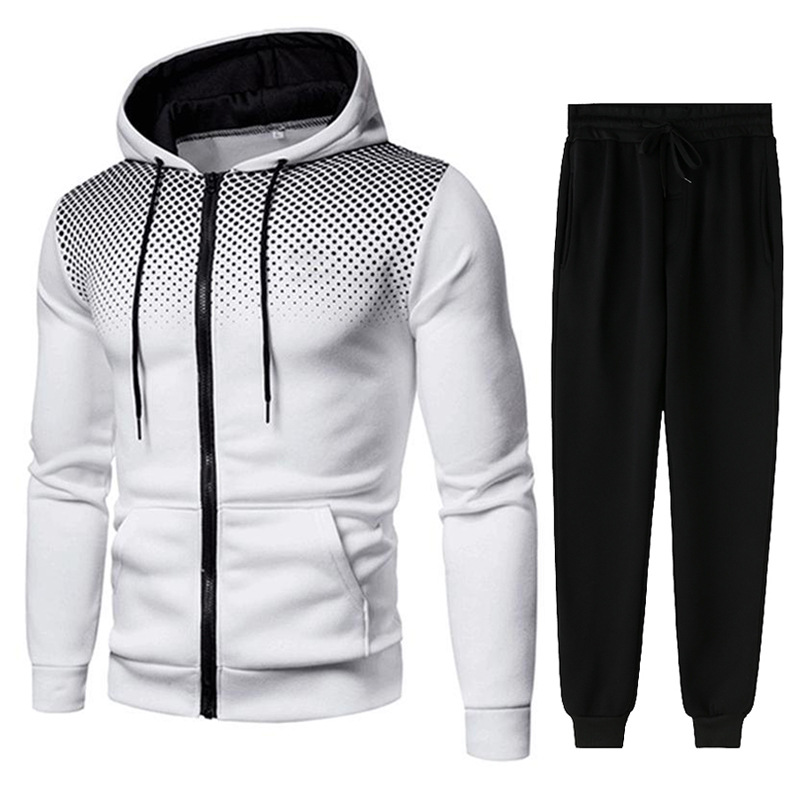 Men Gradient Zip Cardigan Suit Tracksuits Spring Autumn Hoodie Jogging Trousers Fitness Casual Clothing Sportswear Set Plus Size 3
