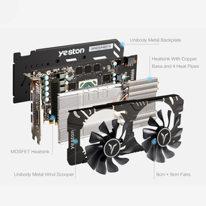 Image 3 - Yeston radeon rx 580 gpu 8gb gddr5 256bit gaming desktop computador pc vídeo placas gráficas suporte DVI D/hdmi/dp pci e x16 3.0