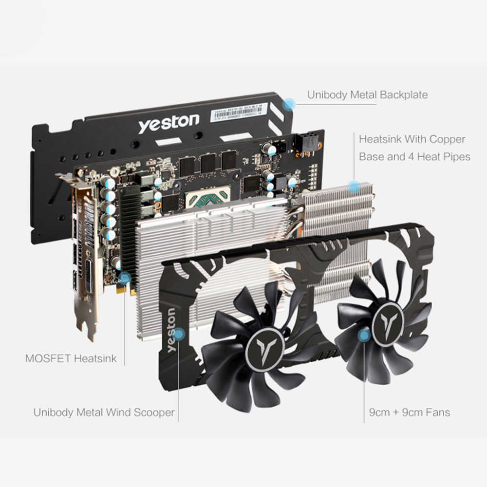 Yeston razon RX 580 GPU 8GB GDDR5 256bit Gaming Desktop ordenador tarjetas gráficas de vídeo compatible con DVI-D/HDMI/DP PCI-E X16 3,0