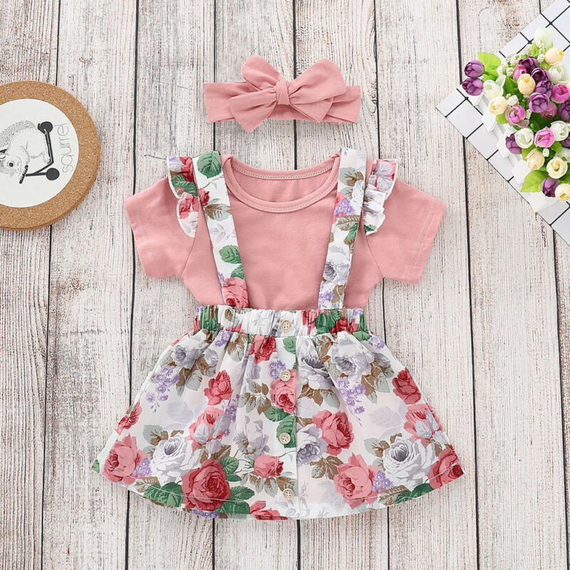 Newborn Baby Girl Clothes Romper Solid Tops+Dress Belt Dress 3Pcs Outfits Set