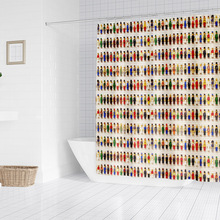 brick mosaic printing bathroom shower curtain bathroom partition curtain comes with hooks available in multiple sizes