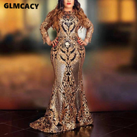 Women O Neck Mermaid Long Dresses Female Sequined Floor Length Maxi Dress Formal Party Elegant Evening Vestidos