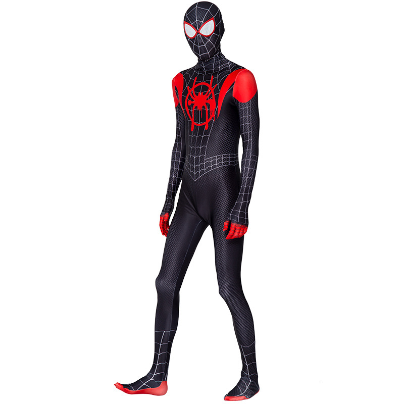 High Quality spider boy Costume Fancy Dress Adult And kid man Halloween Costume Red Black man Spandex 3D Cosplay Clothing 2
