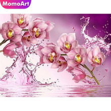 MomoArt The Pink Orchid Diamond Painting Cross Stitch Picutre Of Rhinestone Wall Decor Square Embroidery Wedding Decoration