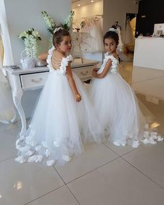 Image 4 - Flower Girls Dresses For Weddings Scoop Ruffles Lace Tulle Pearls Backless Princess Children Wedding Birthday Party Dresses