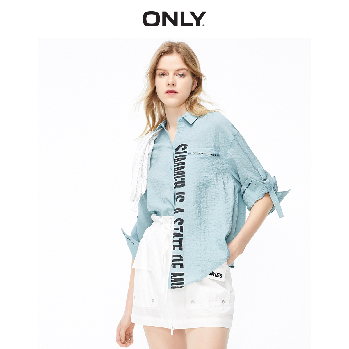 ONLY Women's Loose Fit Letter Print Long-sleeved Shirt | 119231502