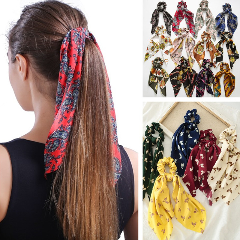 MINHIN Women Vintage Headwear Turban DIY Hair Scrunchies Ribbon Hair Ties Horsetail Ties Elastic Hair Bow Scarf Jewelry