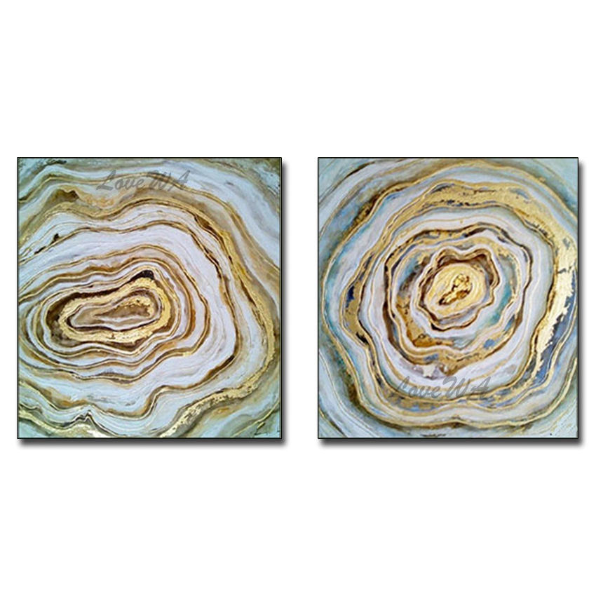 2 Pieces Gold Foil Design Canvas Abstract Oil Painting Modern Home Interior Decoration Pieces Hand Painted Canvas Wall Art