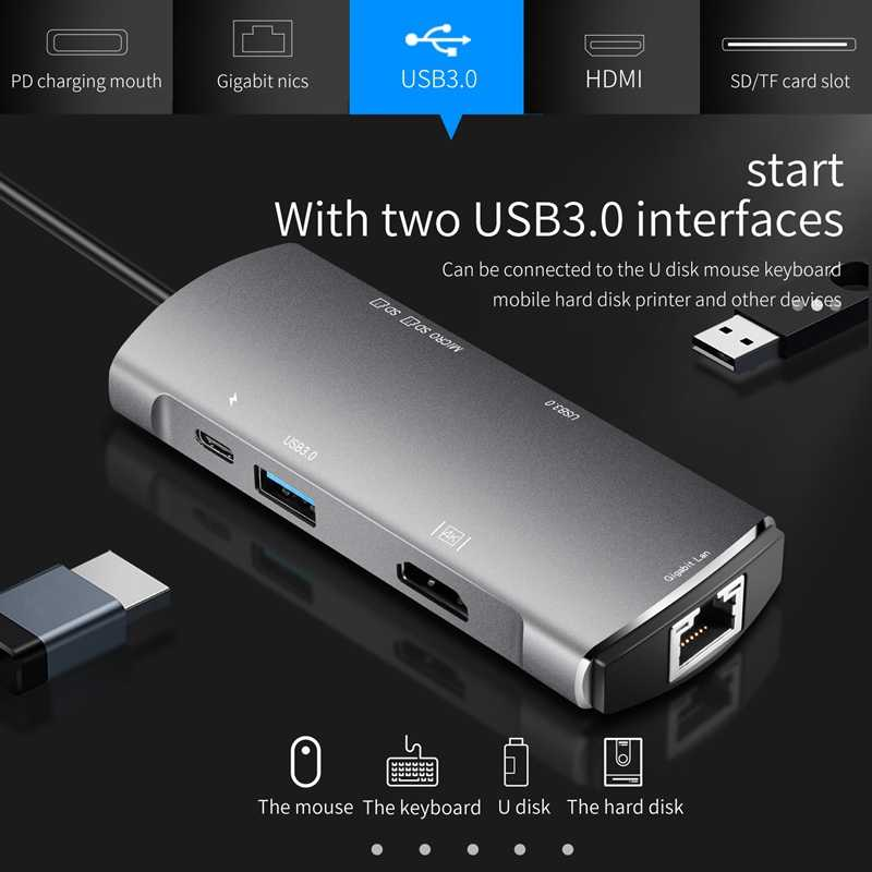 7 في 1 Usb 3.0 Type-C Hub إلى Ethernet + 4K فيديو Hdmi Pd Rj45 + شحن مهايئ منفذ + Sd/Micro-SD فتحة ل Macbook Iphone Huawei