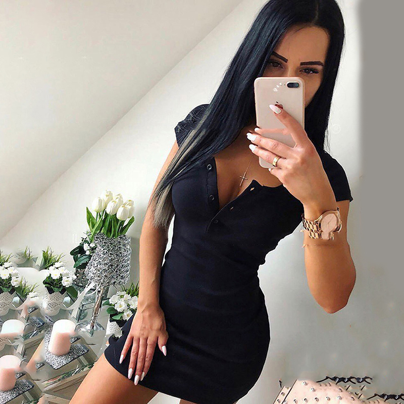 Summer Fashion Ladies Sexy O-Neck Knit Skinny Dress Button Short Sleeve Ladies