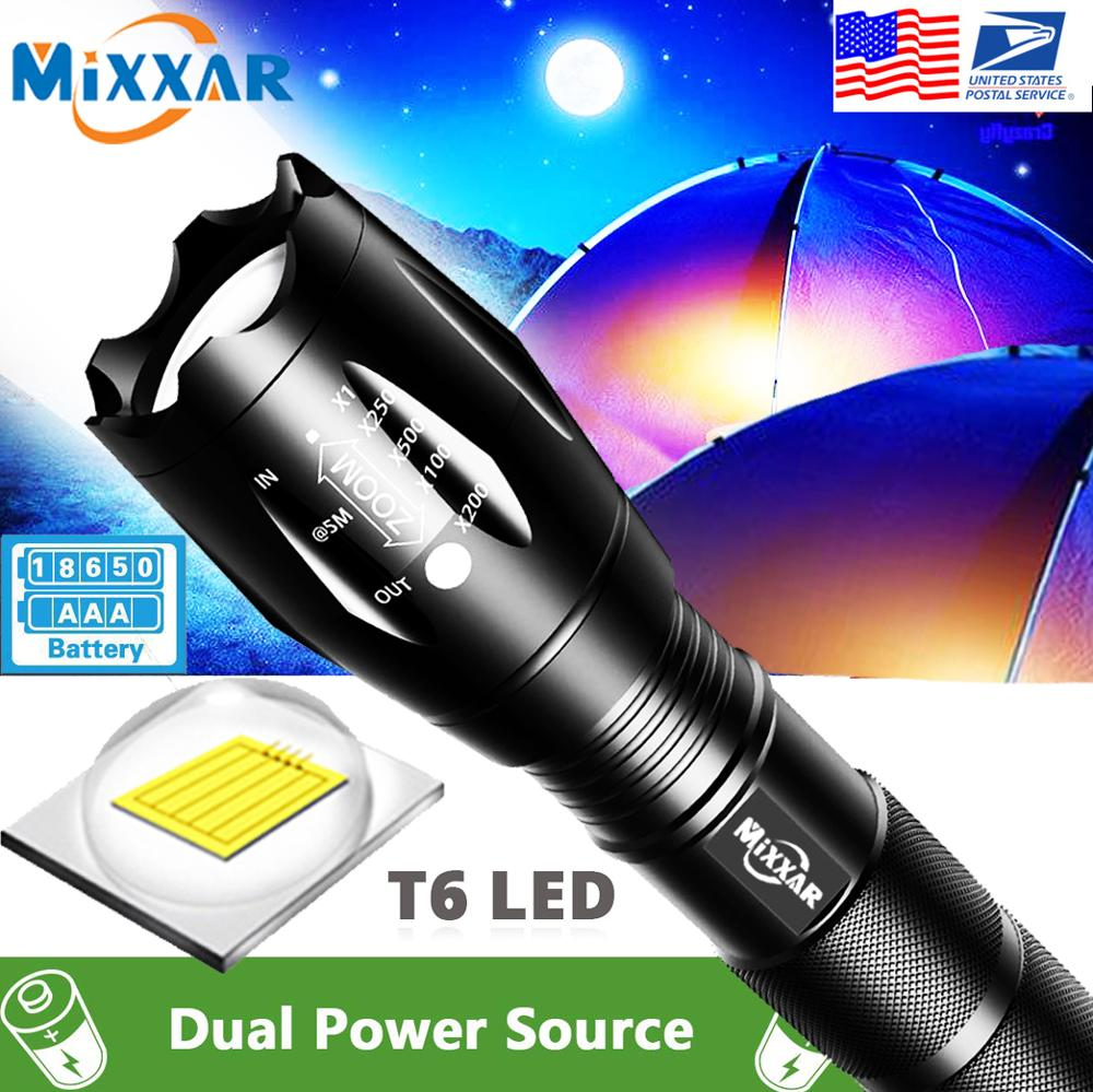 EZK20 Q250 TL360 T6 LED Handheld Tactical Flashlight Zoom Torch Light Camping Lamp For 18650 Rechargeable Battery AAA