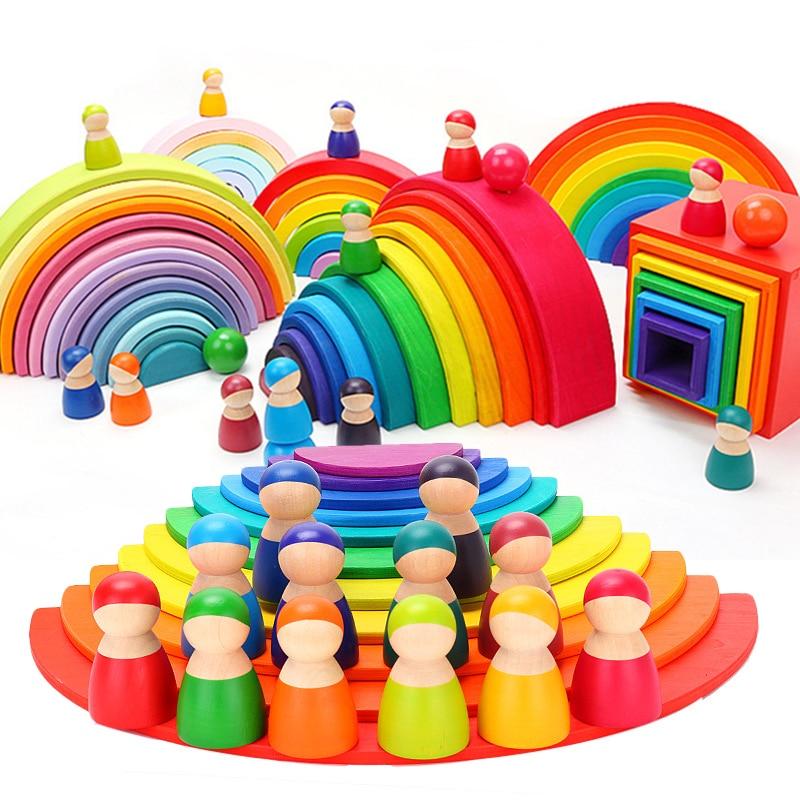 Baby Toy Children Wooden Rainbow Blocks Wooden Ball Dolls Rainbow Building Stacking Blocks Montessori Color Sort Educational Toy