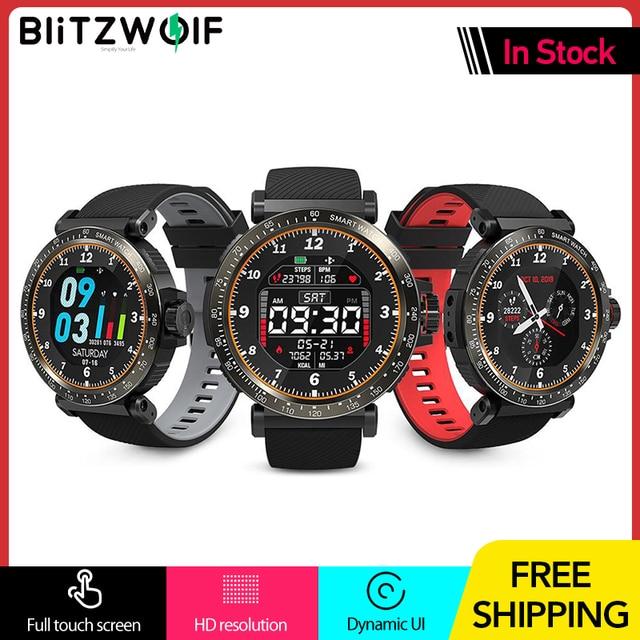 BlitzWolf BW AT1 שעון חכם מסך מגע מלא UI דינמי צג חמצן לחץ דם קצב לב דופק מזג אוויר גשש כושר צמיד גשש כושר Smartwatch שחור גברים נשים