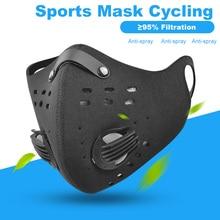 Máscara facial com filtro de carbono pm 2.5, anti poluição, à prova de poeira, máscara protetora, ciclismo, corrida