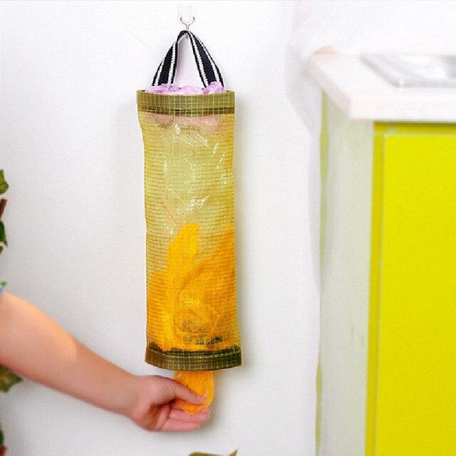 Home Grocery Bag Holder Wall Mount Storage Dispenser Plastic Storage Bag Kitchen Organizer Hanging Garbage Bag Storage