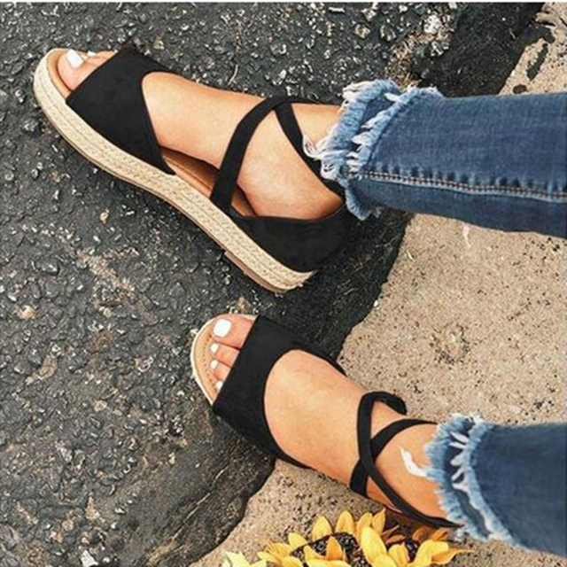 Sandalias de plataforma de mujer 2020, zapatos planos de gladiador con punta abierta y cremallera para mujer, zapatos de verano cómodos de talla grande para mujer 2