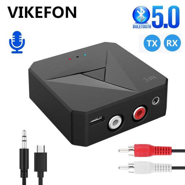 Odbiornik Bluetooth 5.0 nadajnik 3.5mm AUX Jack muzyka bezprzewodowy Adapter Audio połączenie bezprzewodowe i mikrofon NFC zestaw samochodowy do telewizora Auto ON