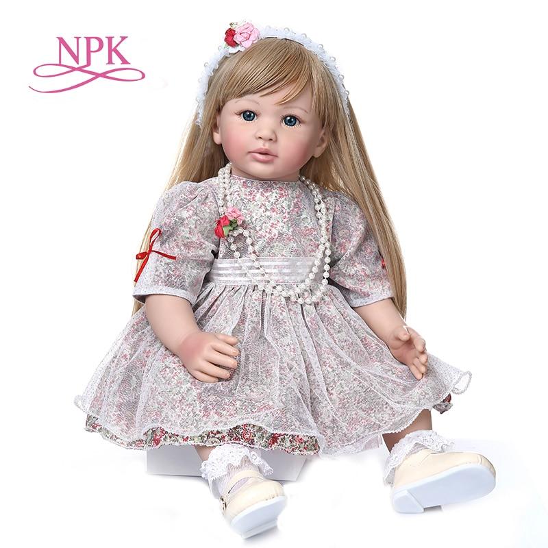 60CM alta calidad muñeca princesa muñeca niño niña muñeca con ultra rubia larga muñeca hecha a mano muñeca