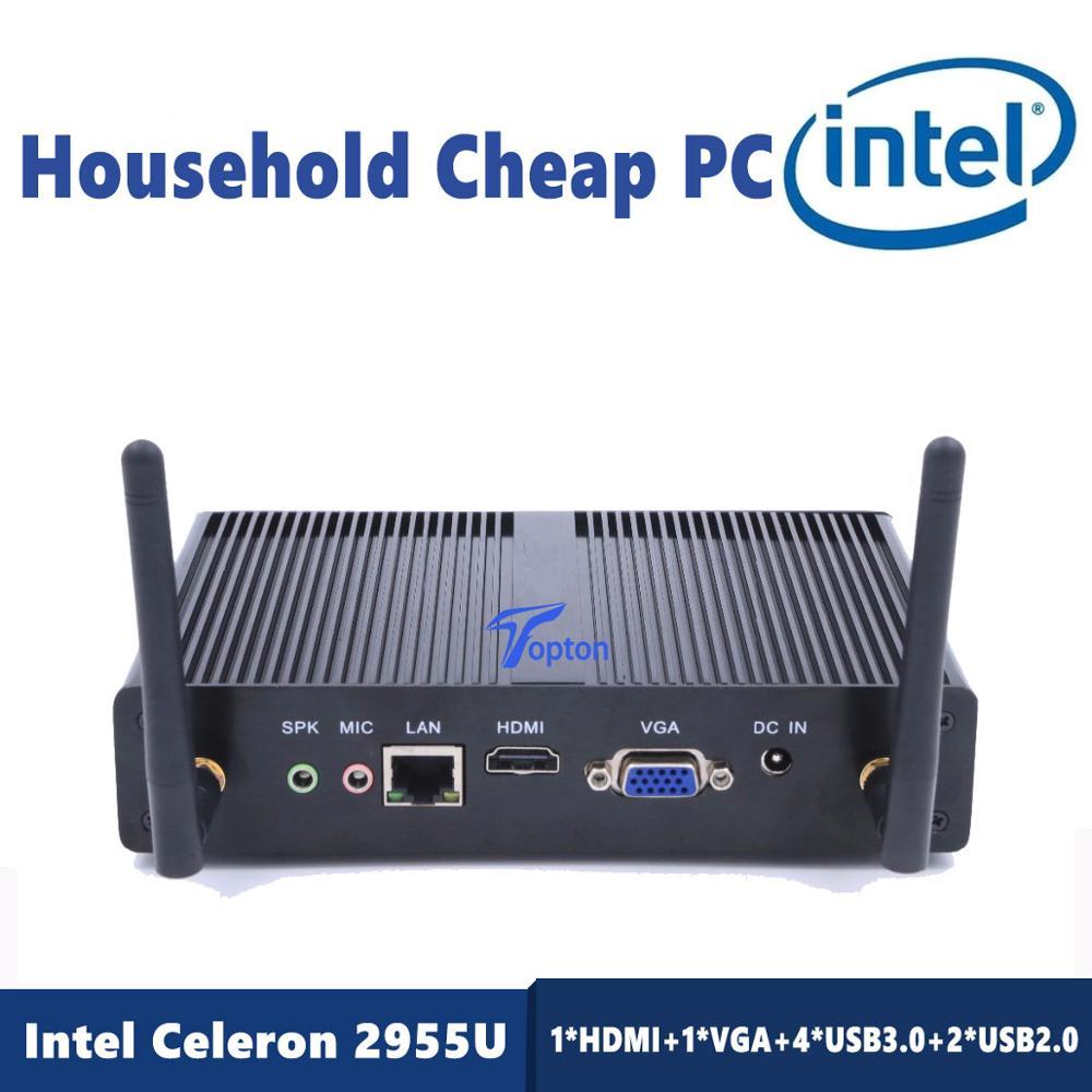 Topton Cheap Mini PC Intel Core I3 7100U 2955U DDR3L 2.4GHz 4GB RAM 64GB SSD Windows 10 PRO WIFI LAN 4K HDMI VGA+ Desk Bracket
