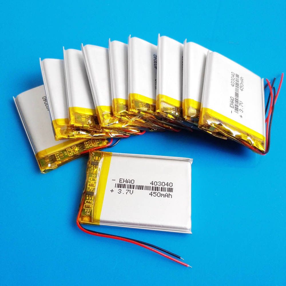 wholesale 10 pcs <font><b>3.7V</b></font> 450mAh <font><b>403040</b></font> lipo polymer lithium rechargeable battery for MP3 GPS recorder e-book camera image
