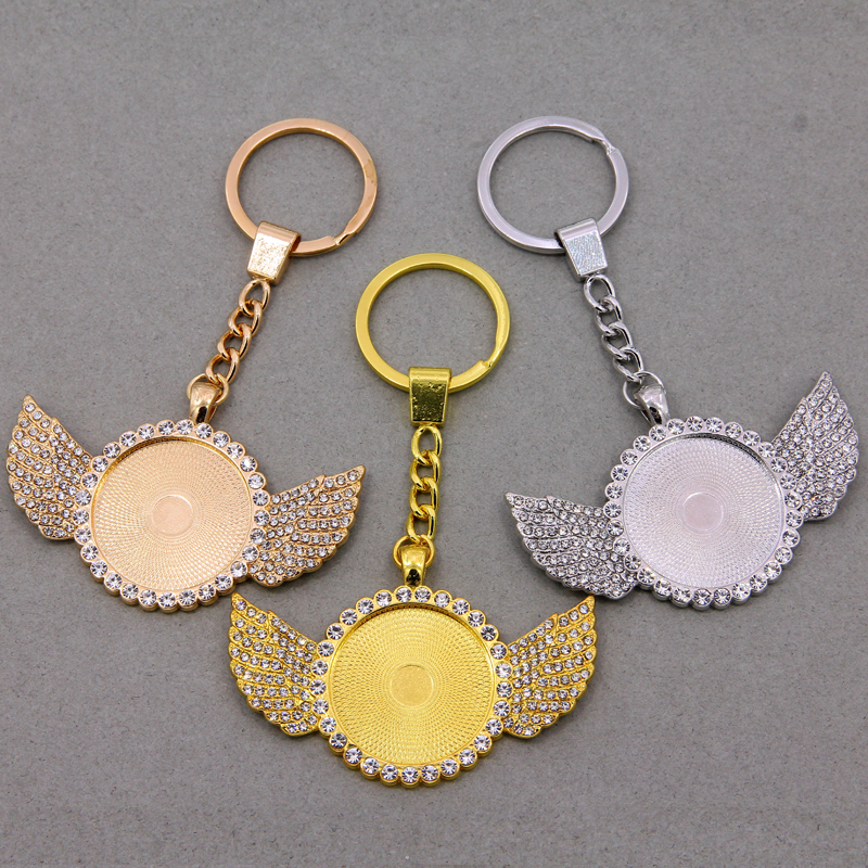 2pcs/lot 30mm Angel wings Cameo Glass Inlaid Zircon Cabochon Base Setting Fit 30mm Glass Keychain Penndant Necklace DIY Making