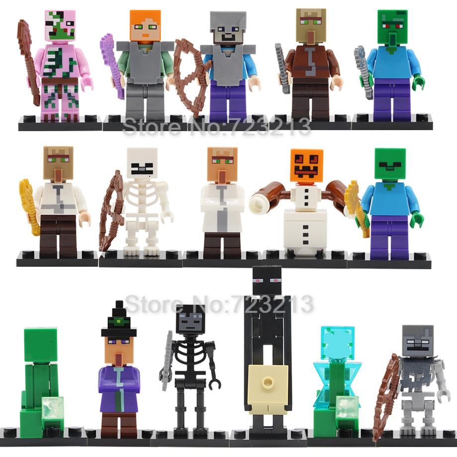 16pcs/lot Figure Set Villager Animal Game Cartoon Building Blocks Sets MOC Models Educational Toys For Children  Christmas Gifts